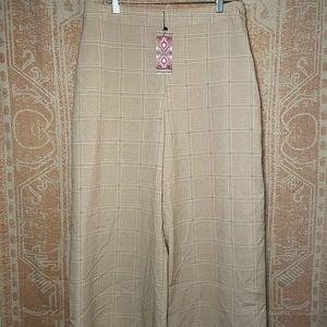 Boohoo blush plaid wide leg pants